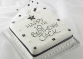Black  White Birthday Star Stand Cake