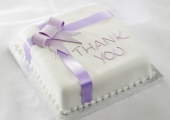 Lilac Thank You Bow Cake